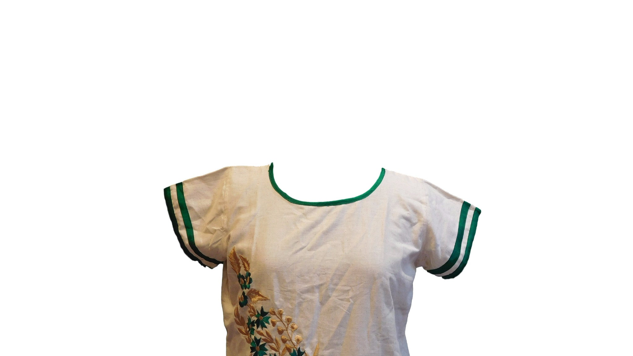 White & Green Designer Cotton (Chanderi) Kurti