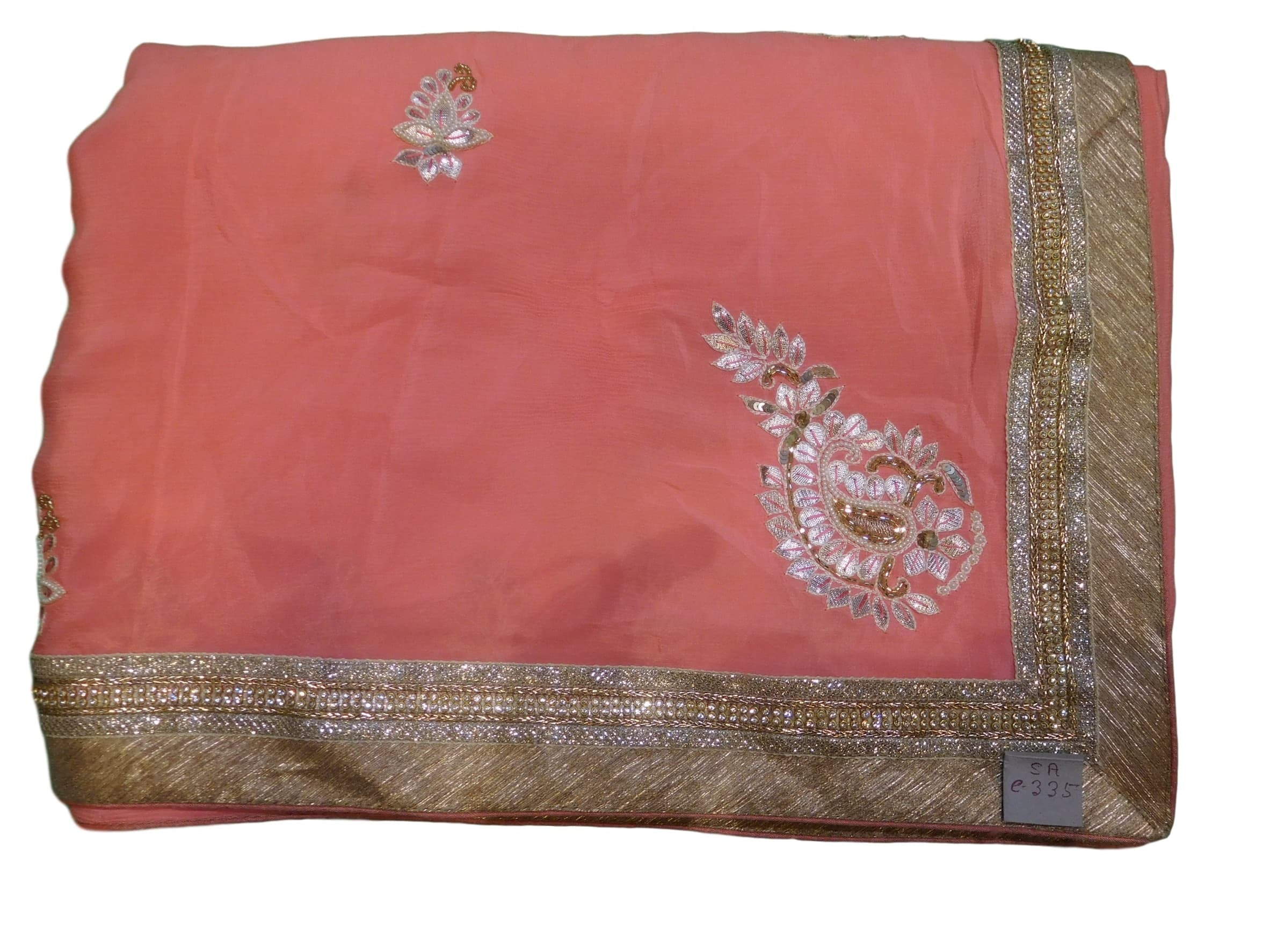 Peach Designer Georgette (Viscos) Hand Embroidery Work Sari Saree