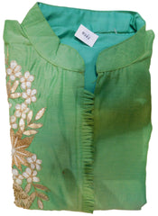 Sea Green Designer Cotton (Chanderi) Kurti