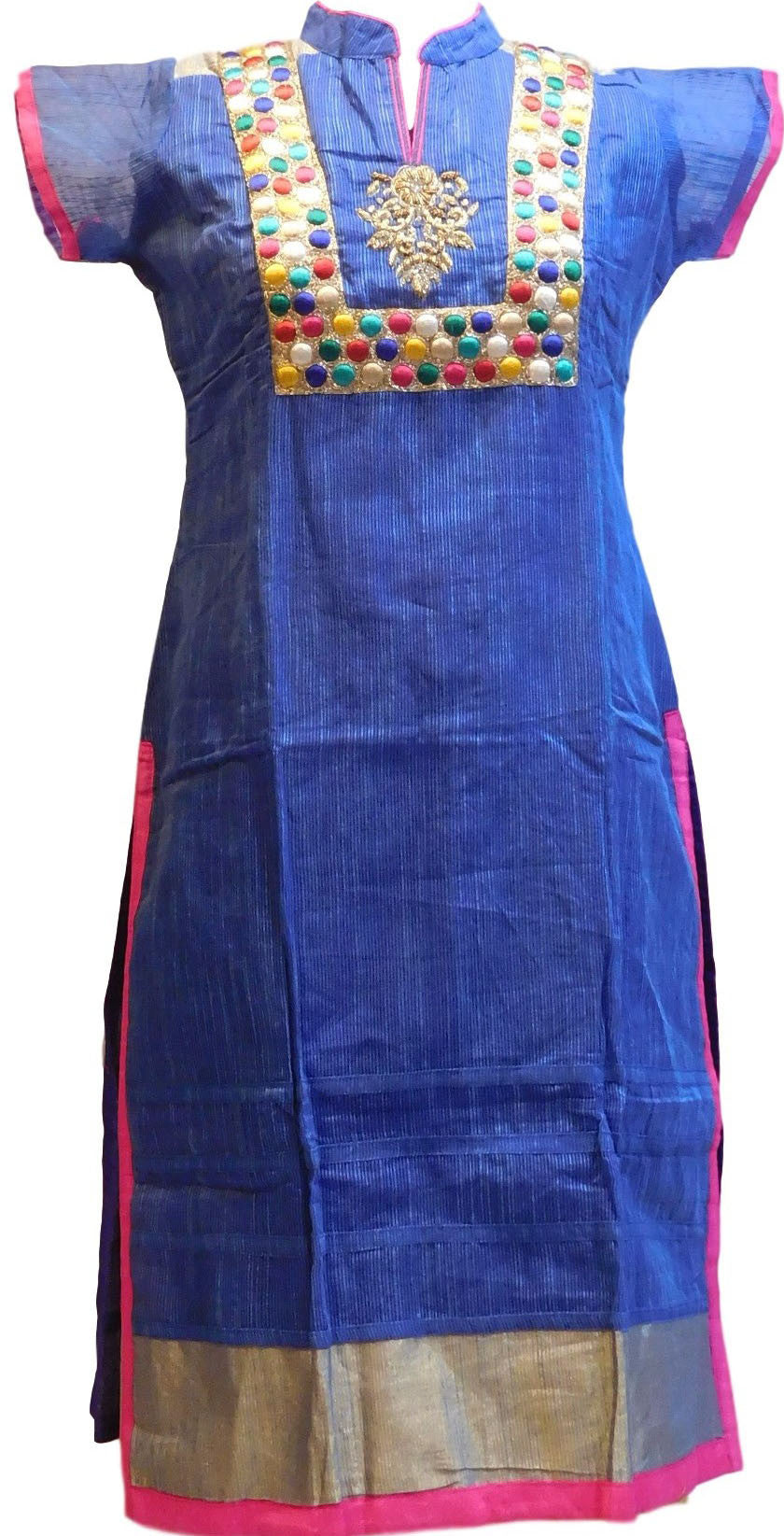 Blue Designer Cotton (Supernet) Kurti
