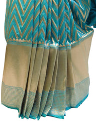 Turquoise Traditional Designer Bridal Hand Weaven Pure Benarasi Zari Work Saree Sari With Blouse