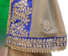 Bollywood Style Green & Grey Gota Saree With Blue Border & Pearl Lace Sari