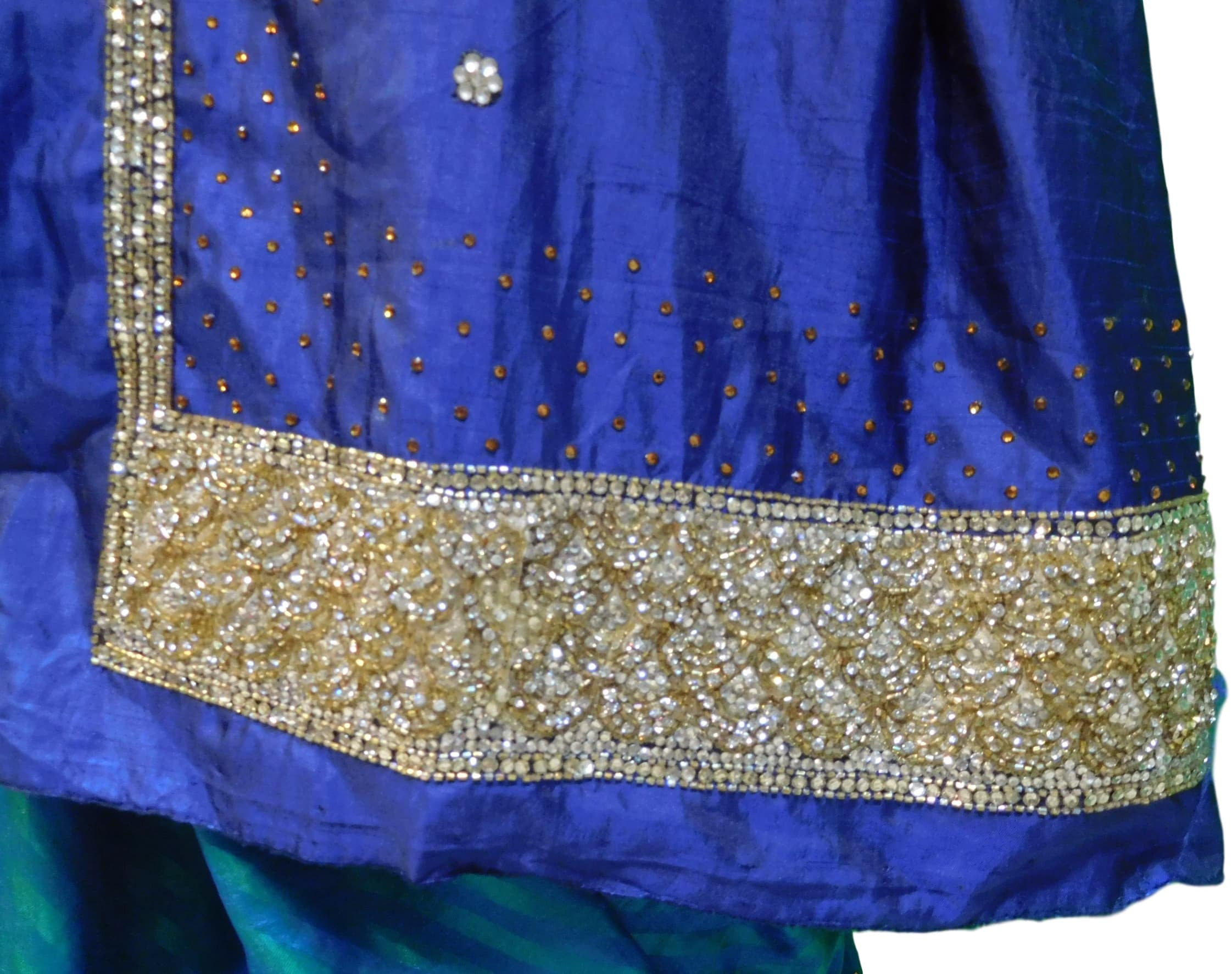 Blue & Turquoise Designer Silk Stone, Hand Embroidery Work Saree