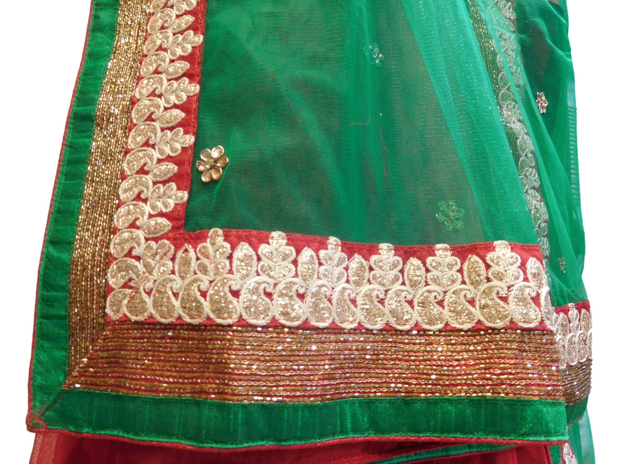 Red & Green Designer Bridal Hand Embroidery Work Lahenga With Net Dupatta & Silk Blouse