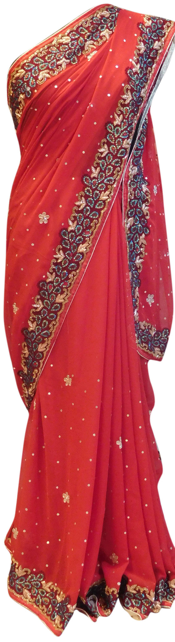 Red Designer Border Saree