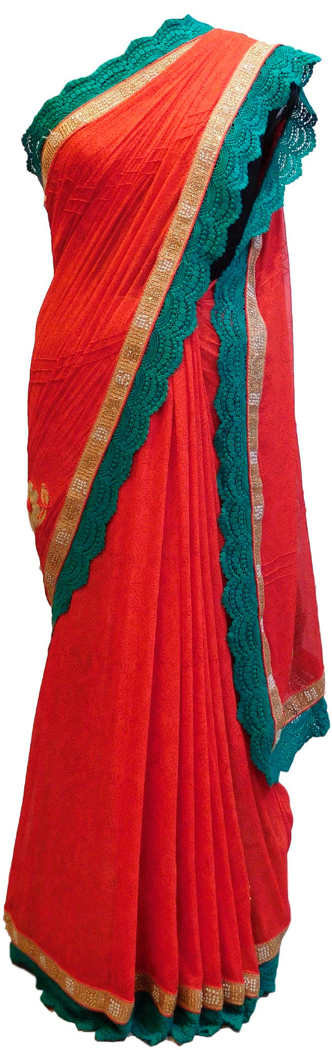 Red Designer Chiffon Printed Saree