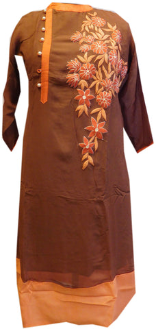 Brown Designer Georgette Kurti