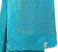 Blue Designer Georgette (Viscos) Hand Embroidery Stone Work Saree Sari