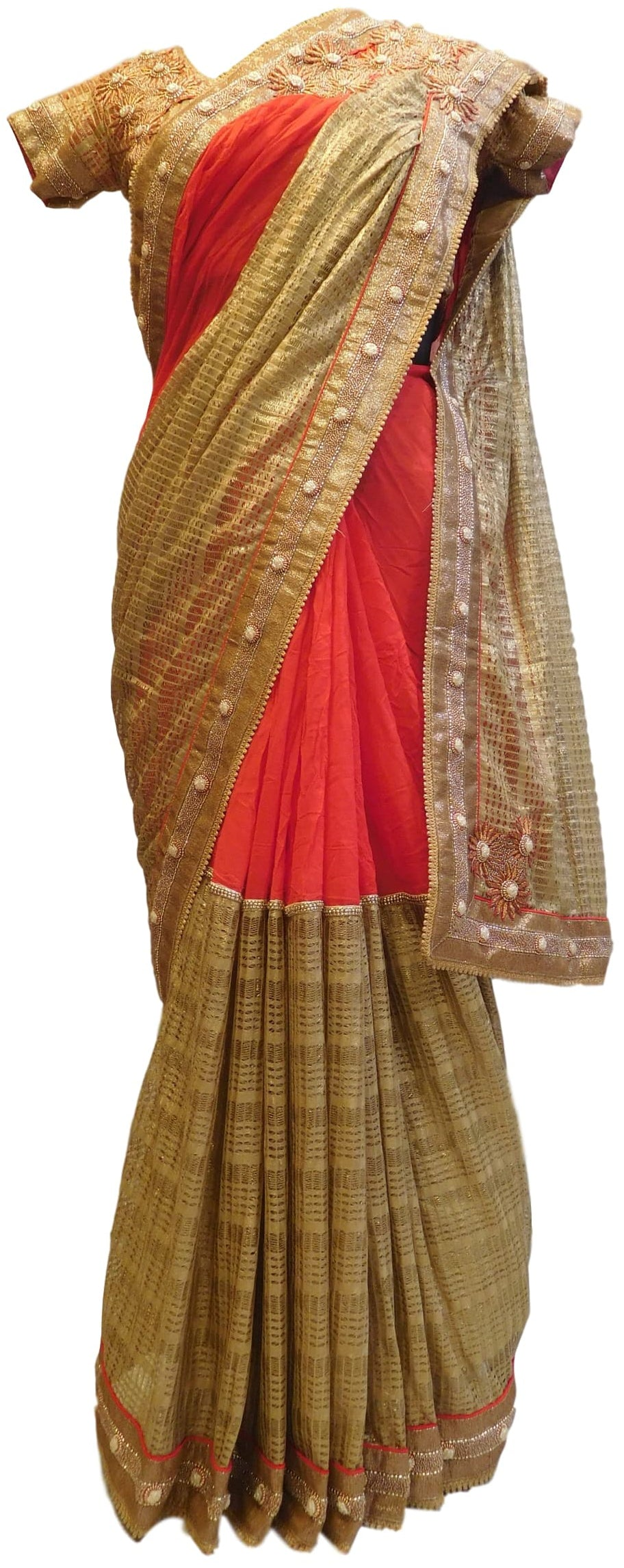 Red & Golden Boutique Style Georgette (Viscos) Hand Embroidery Bullion Cutdana Thread Beads Work Saree Sari With Designer Stitched Blouse