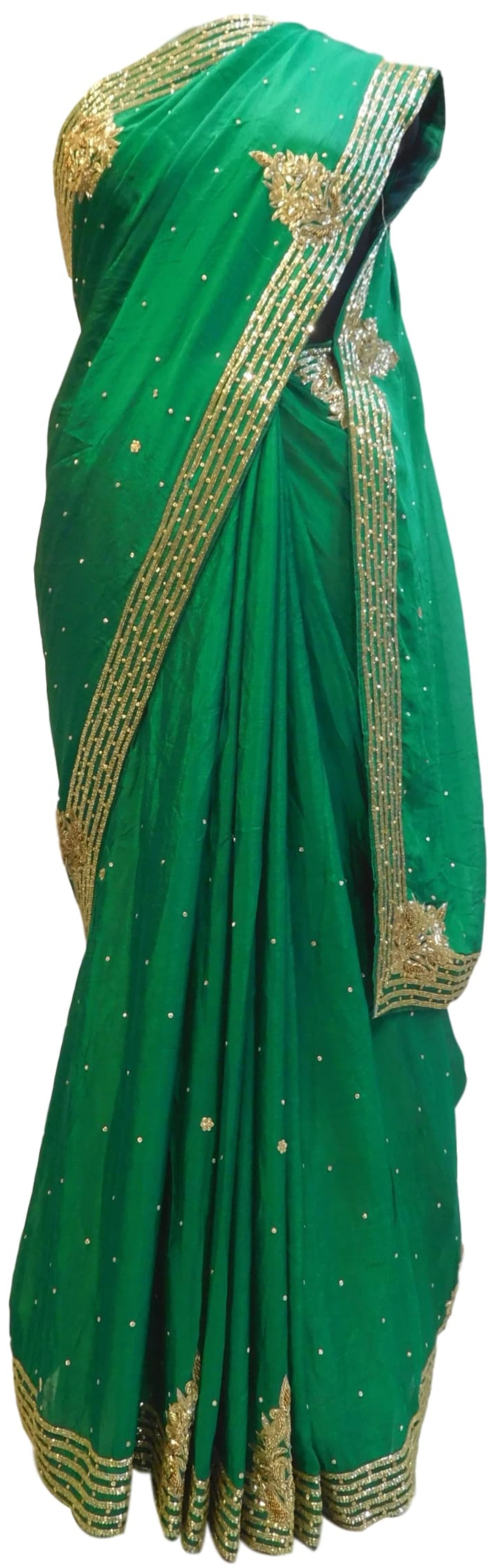 Green Designer Crepe (Chinon) Hand Embroidery Cutdana Beads Stone Work Saree Sari