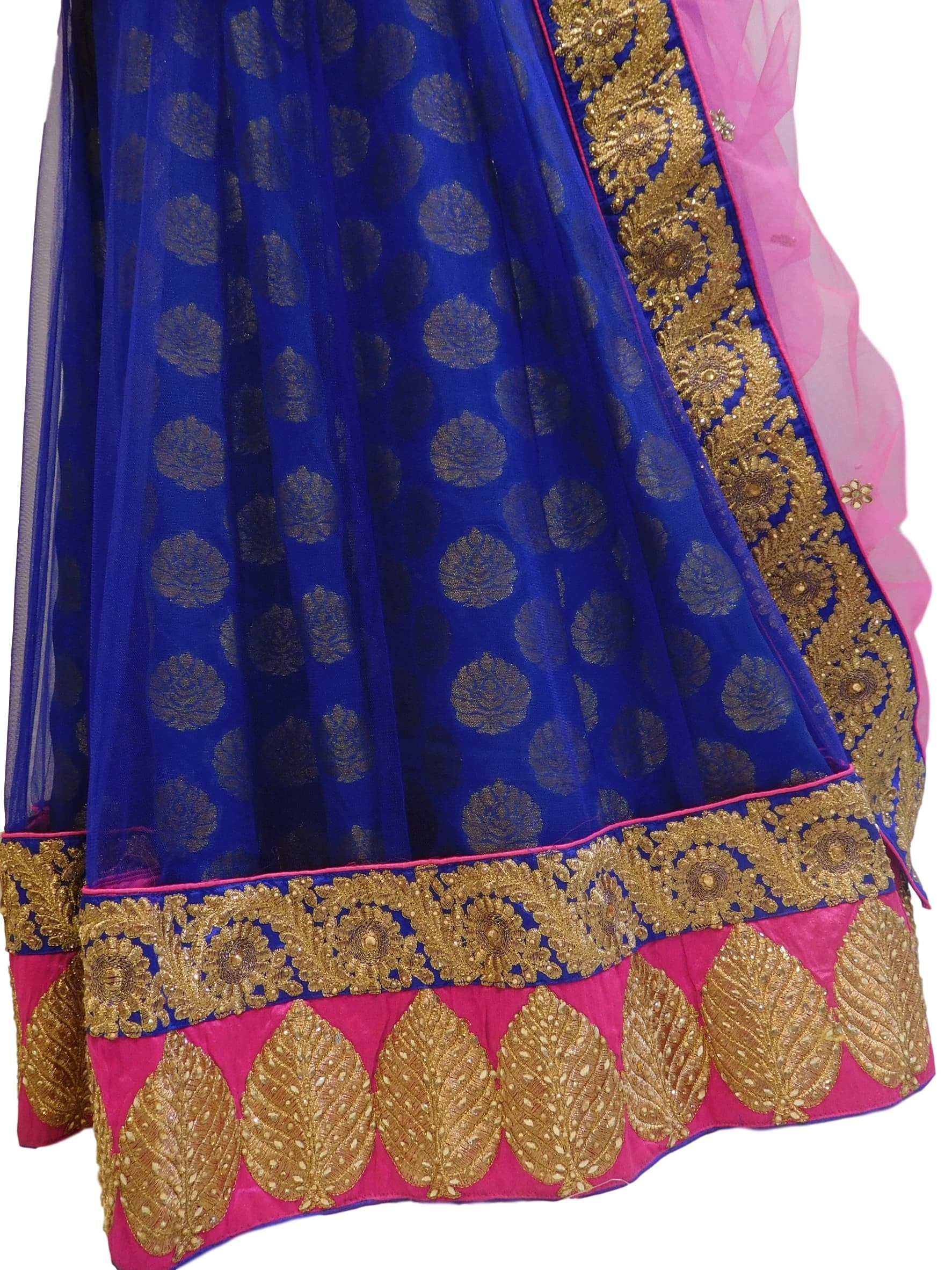 Pink & Blue Designer Bridal Hand Embroidery Work Lahenga With Net Dupatta & Silk Blouse