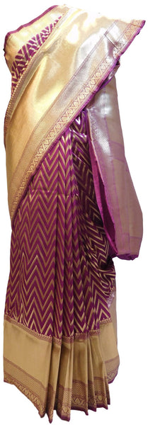 Wine Designer Bridal Hand Weaven Pure Benarasi Laheria Zari Work Saree Sari With Blouse