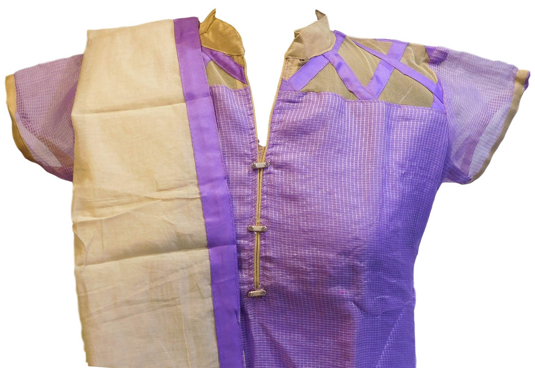 Violet Designer Cotton (Chanderi) Kurti With Beige Chiffon Dupatta