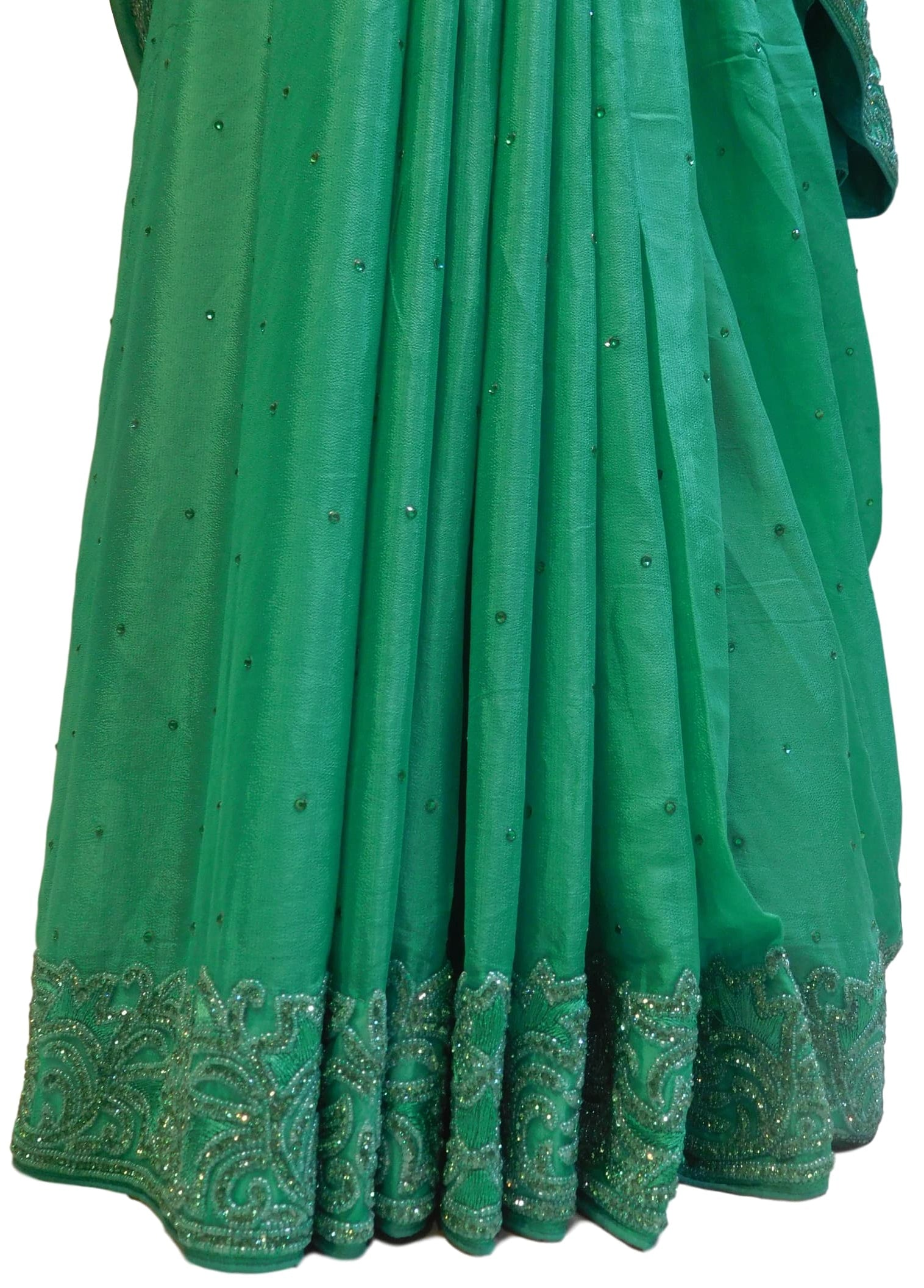 Green Designer Crepe (Chinon) Hand Embroidery Thread Beads Stone Work Saree Sari