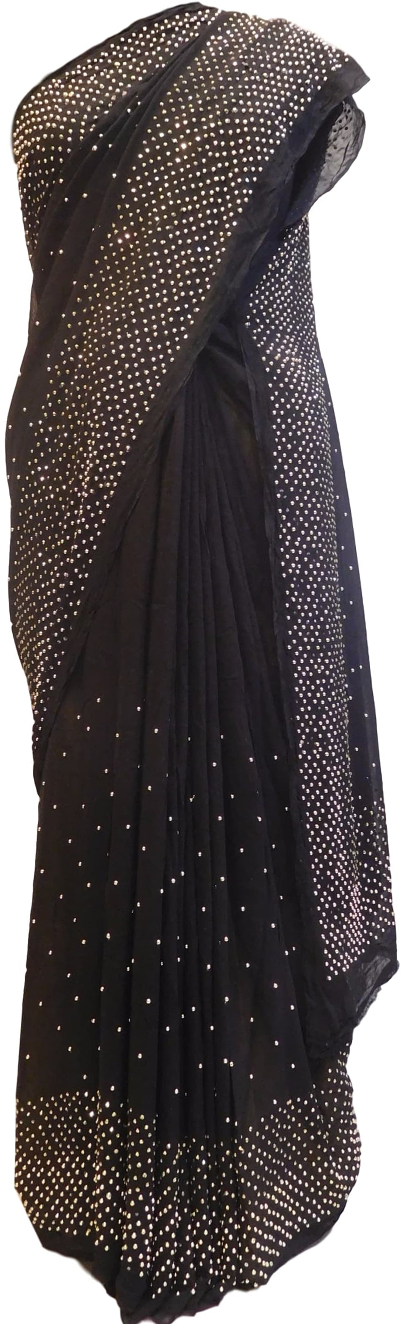 Black Designer Georgette (Viscos) Hand Embroidery Stone Work Saree Sari