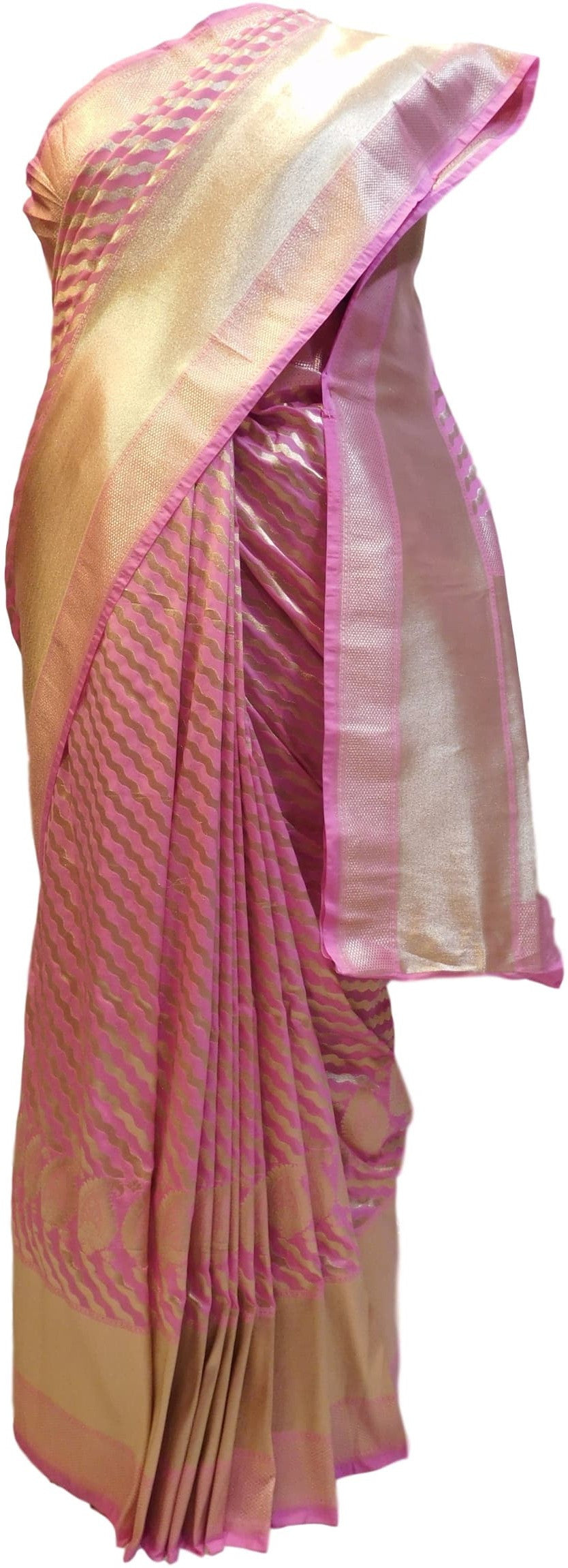 Pink Traditional Designer Bridal Hand Weaven Pure Benarasi Zari Work Saree Sari With Blouse