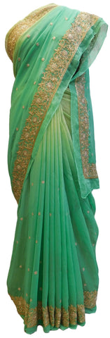 Green Designer Georgette (Viscos) Hand Embroidery Work Sari Saree