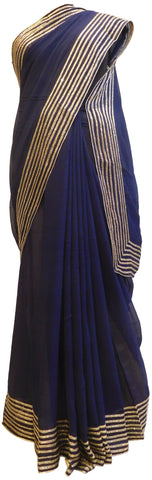 Blue Designer Georgette (Viscos) Hand Embroidery Zari Cutdana Work Saree Sari