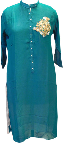 Sea Green Designer Georgette Kurti