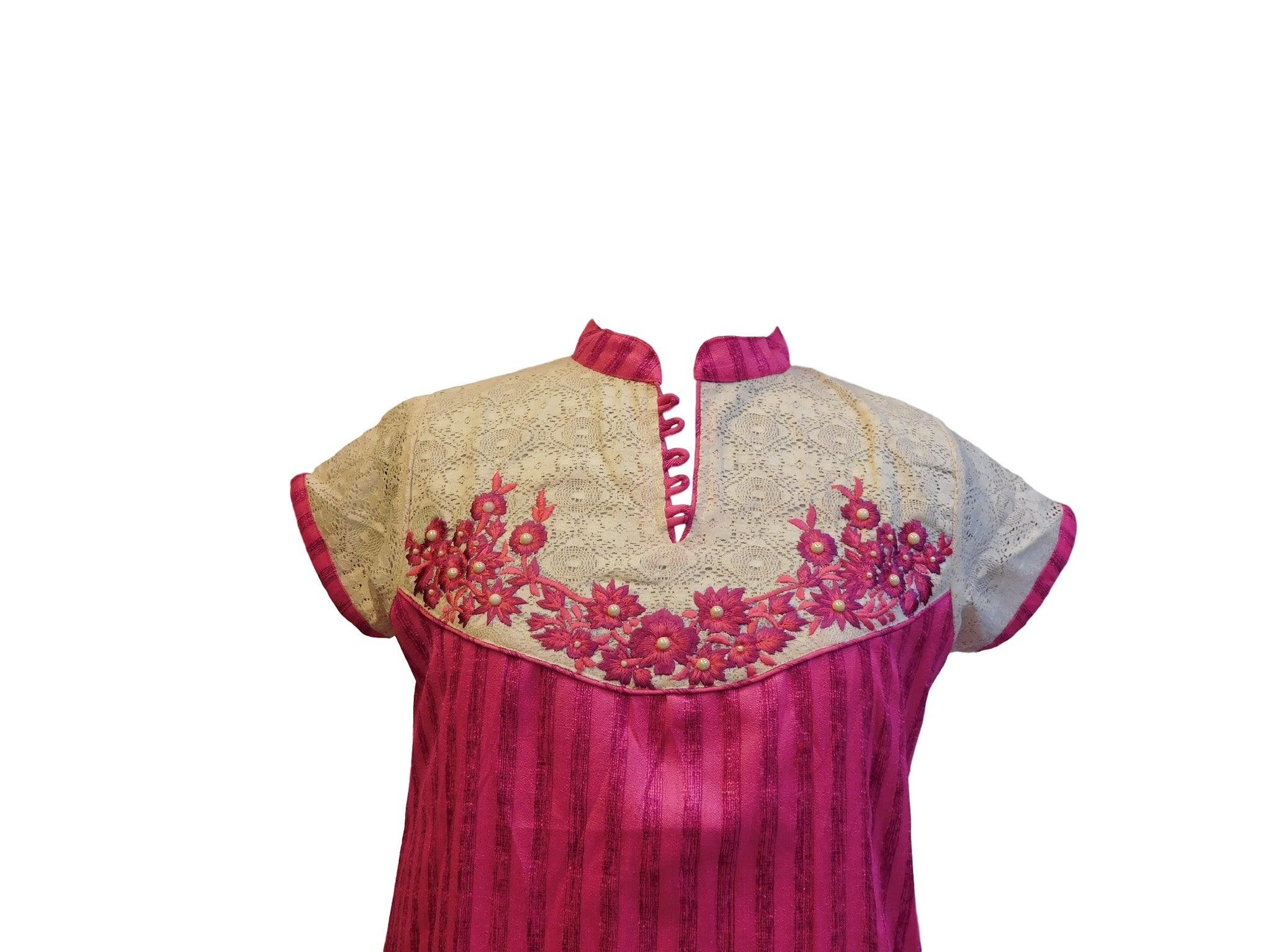 Pink Stylish Raw Silk Kurti