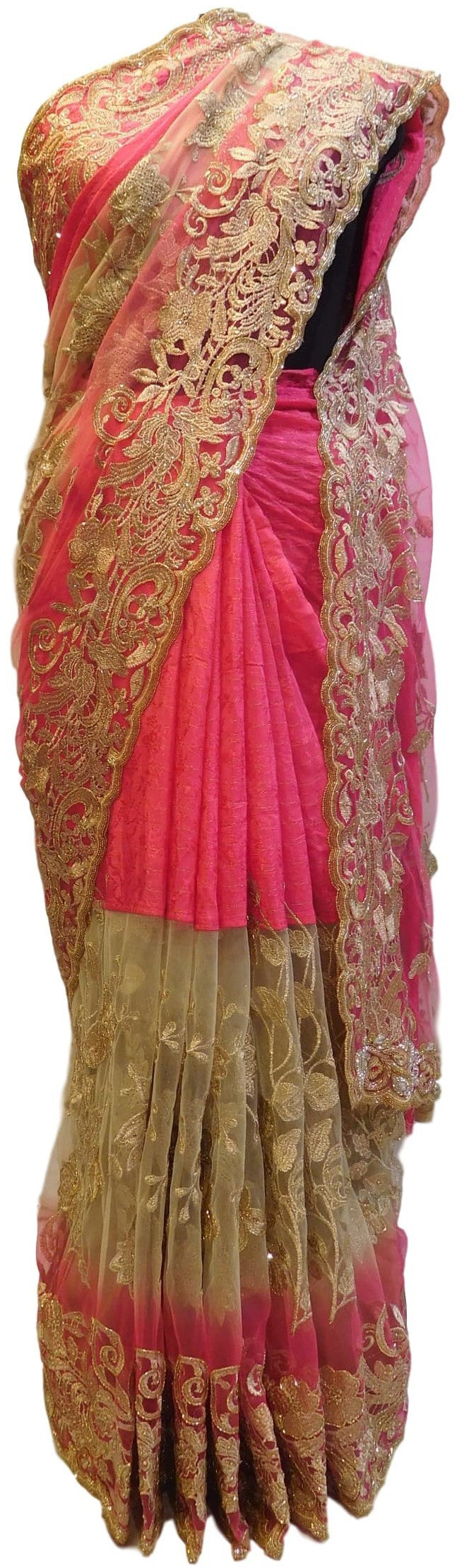 Pink Designer Net Sari Zari, Stone Cutdana Thread Embroidery Work Saree