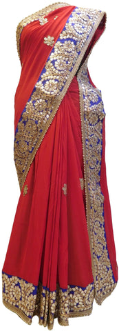 Bollywood Style Red Georgette (Viscos) Gota Work Saree With Blue Border & Pearl Lace Sari