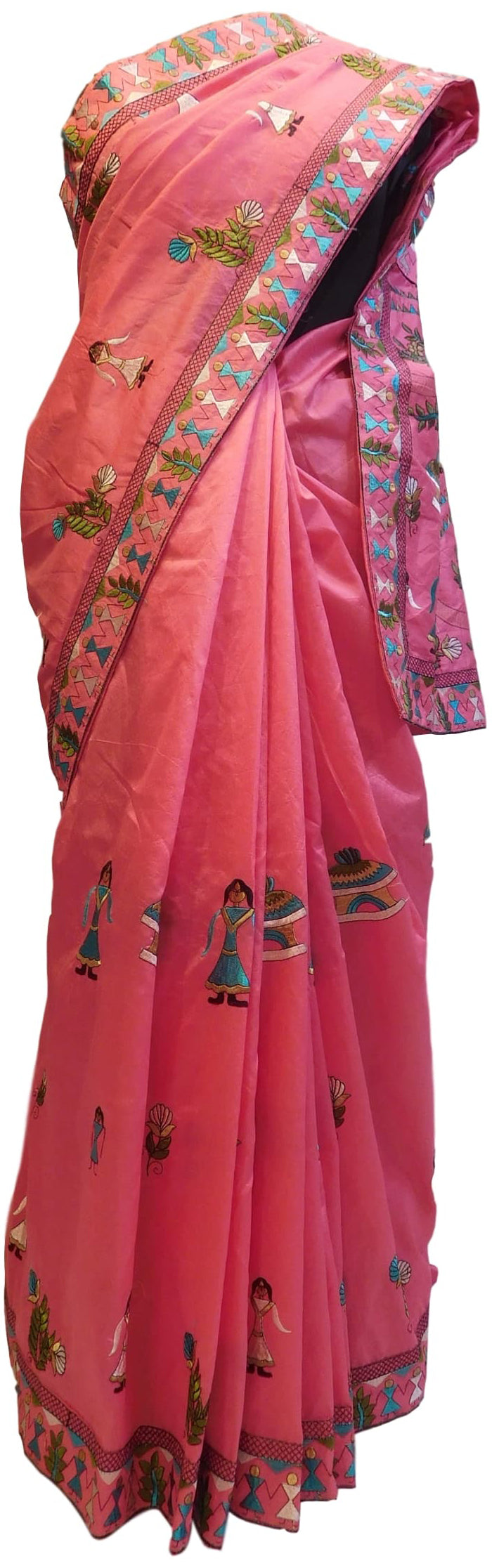 Pink Designer Silk Hand Embroidery Thread Zari Work Saree Sari