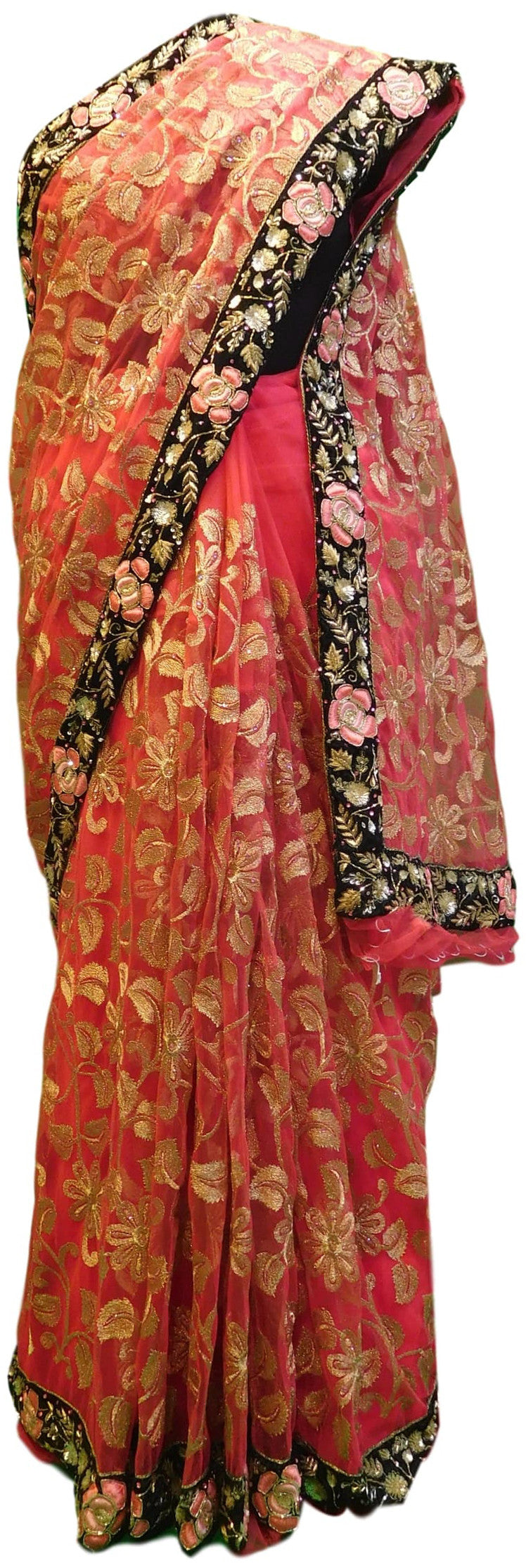 Pink Designer Net Hand Embroidery Zari Work Sari Saree With Heavy Velvet Heavy Border