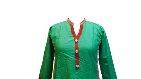 Green Designer Cotton (Linen) Kurti