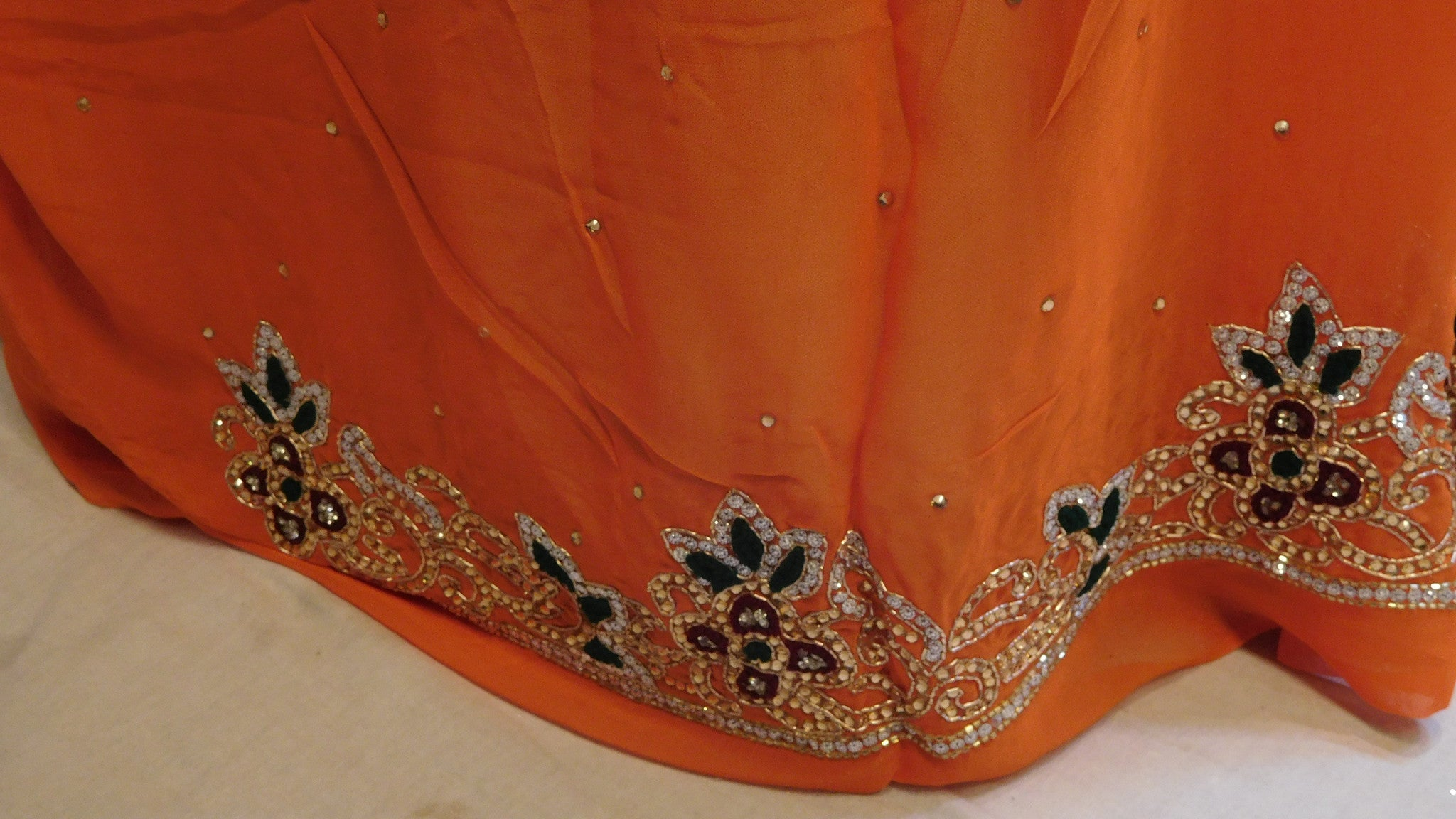 Blue & Orange Designer Saree