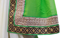 Green, White & Red Designer Saree
