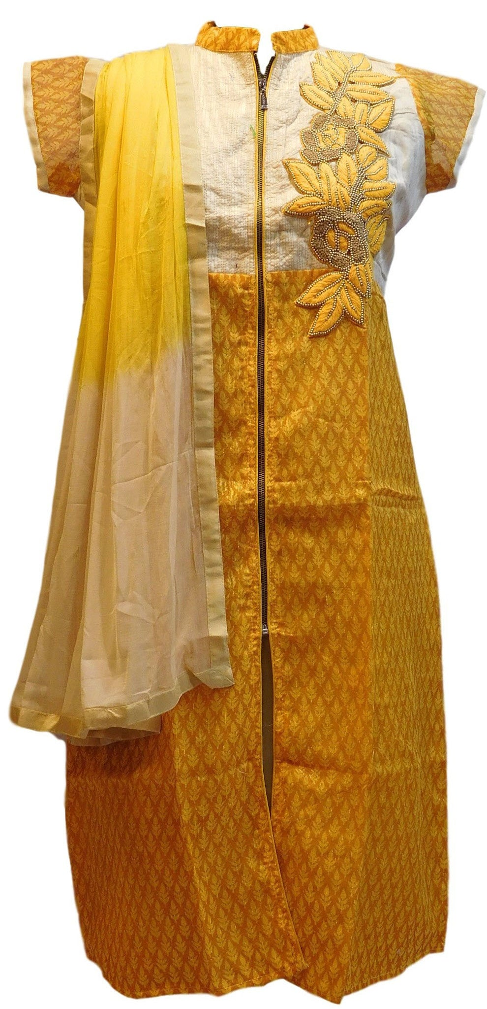 Yellow Designer Cotton (Supernet) Kurti With Dupatta
