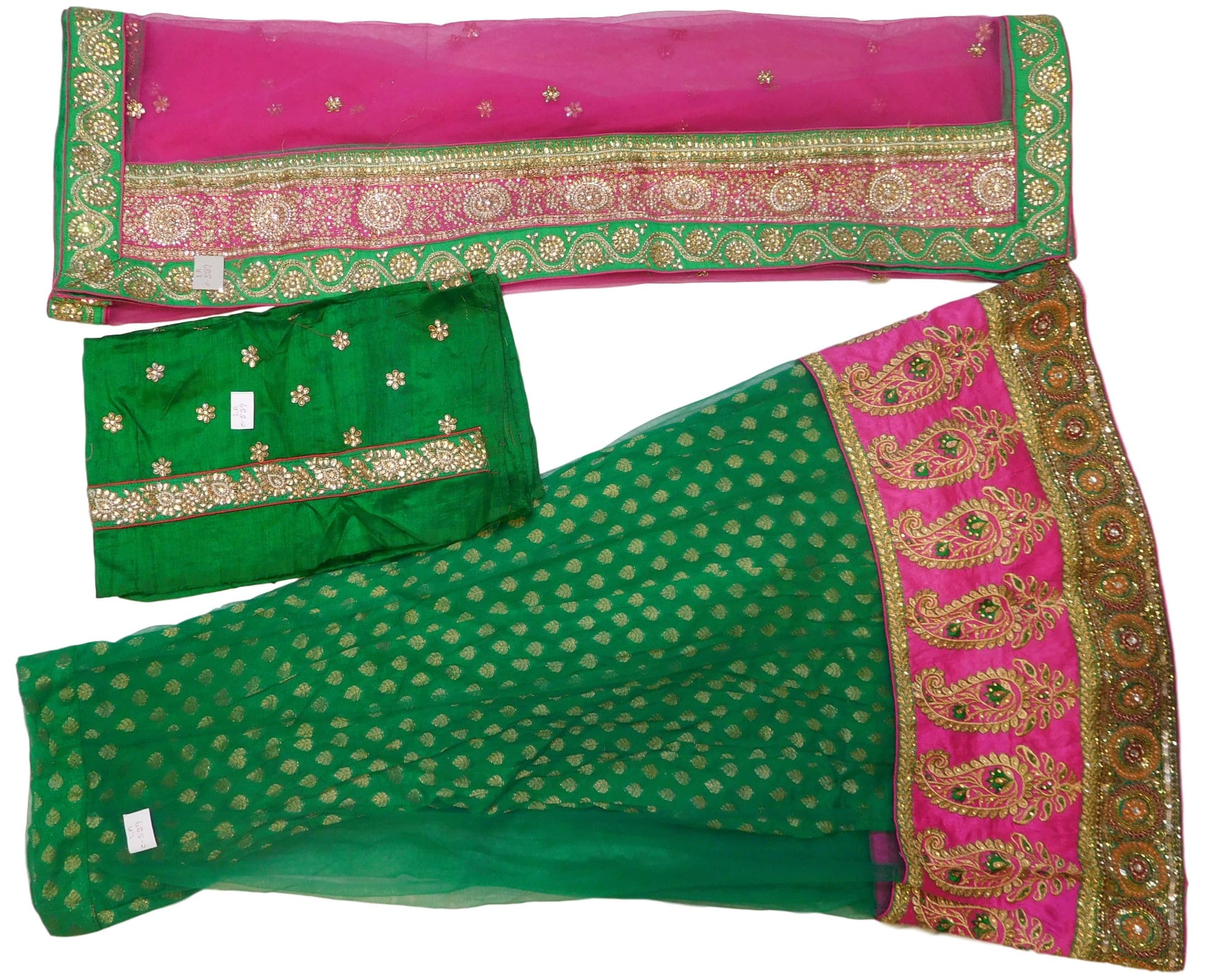 Pink & Green Designer Bridal Hand Embroidery Lahenga Work With Net Dupatta & Silk Blouse