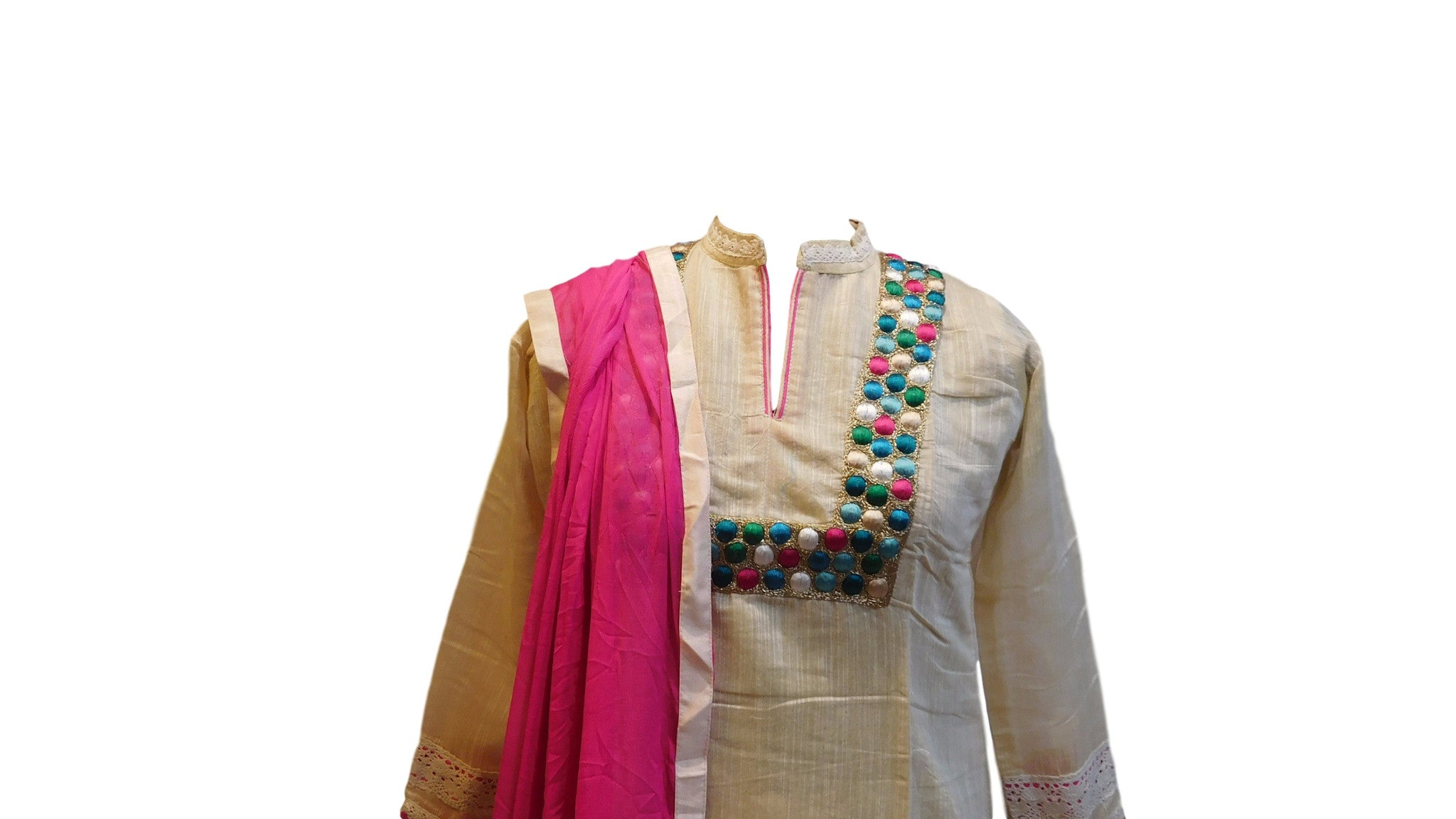Cream Designer Cotton (Chanderi) Kurti With Dupatta