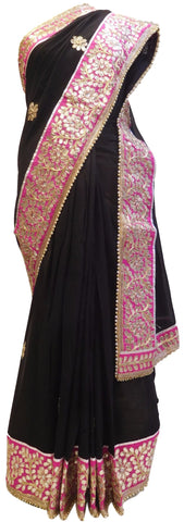 Bollywood Style Black Georgette (Viscos) Gota Work Saree With Pink Border & Pearl Lace Sari