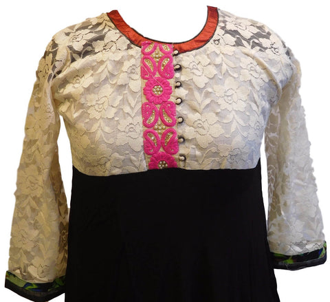 Black & Cream Designer Georgette (Viscos) Kurti