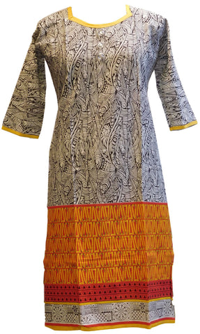 Yellow, Black & White Designer Cotton (Chanderi) Printed Kurti