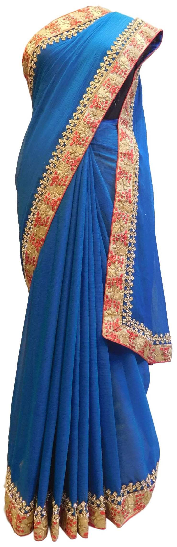 Blue Designer Chiffon Hand Embroidery Zari Stone Thread Work Saree Sari
