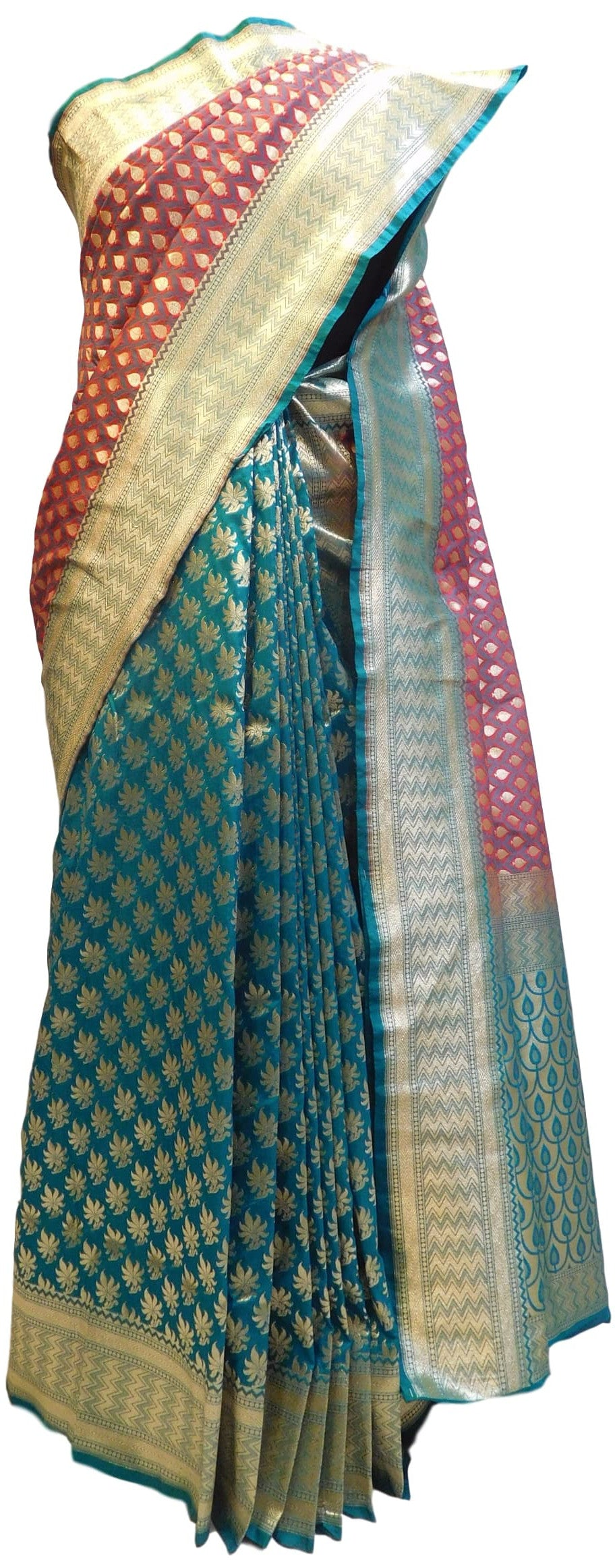 Red & Turquoise Designer Bridal Hand Weaven Pure Benarasi Zari Work Saree Sari With Blouse