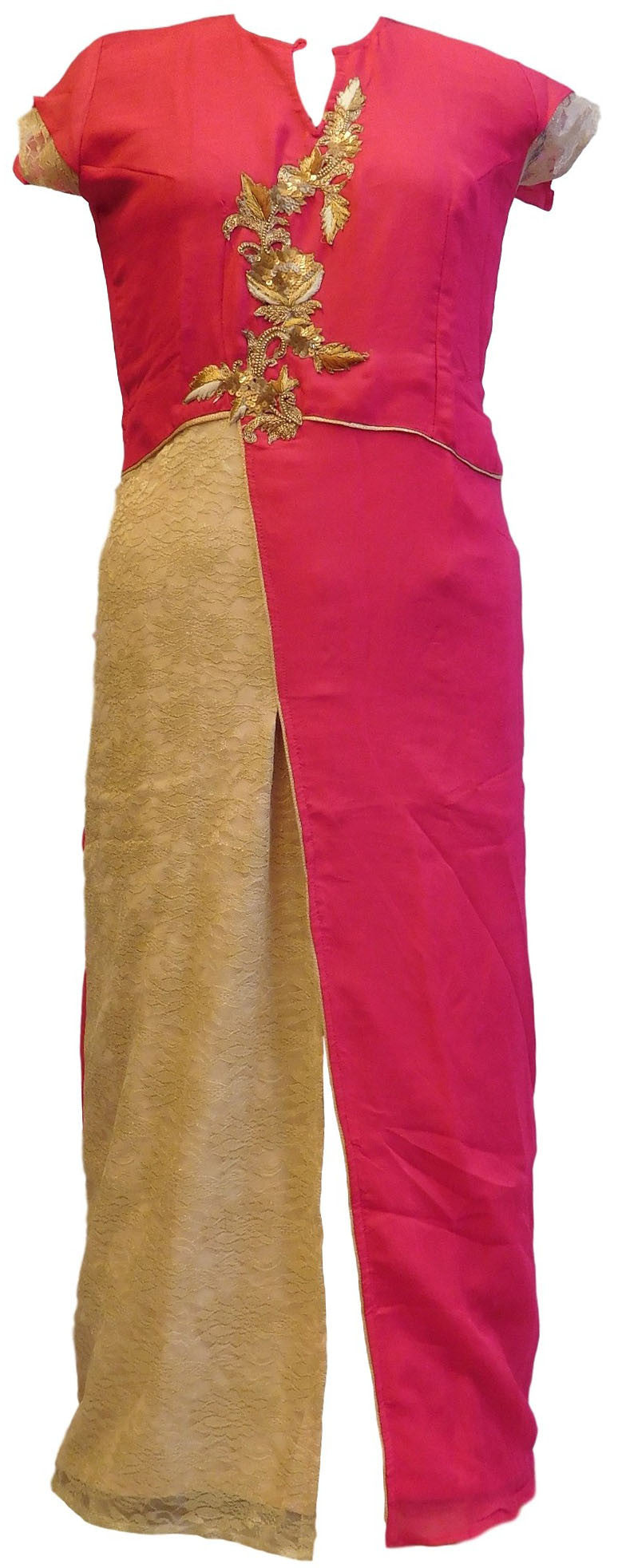 Pink & Golden Designer Georgette & Chantley Kurti