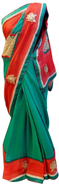 Red & Turquoise Stylish Saree
