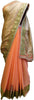 Beige & Peach Designer Georgette (Viscos) Hand Embroidery Work Sari Saree