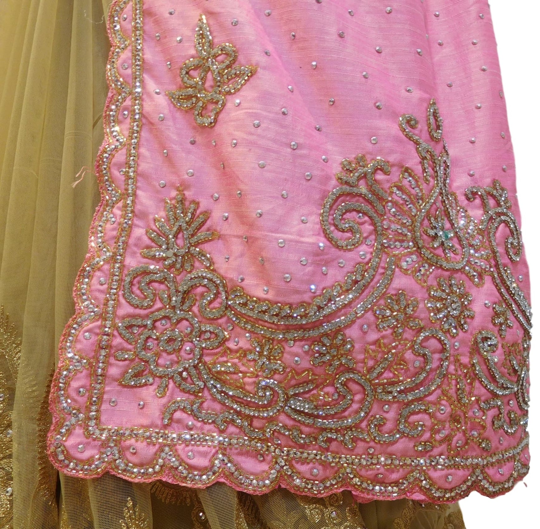 Pink & Beige Designer Silk & Net Hand Embroidery Thread Stone Cutdana Work Saree Sari