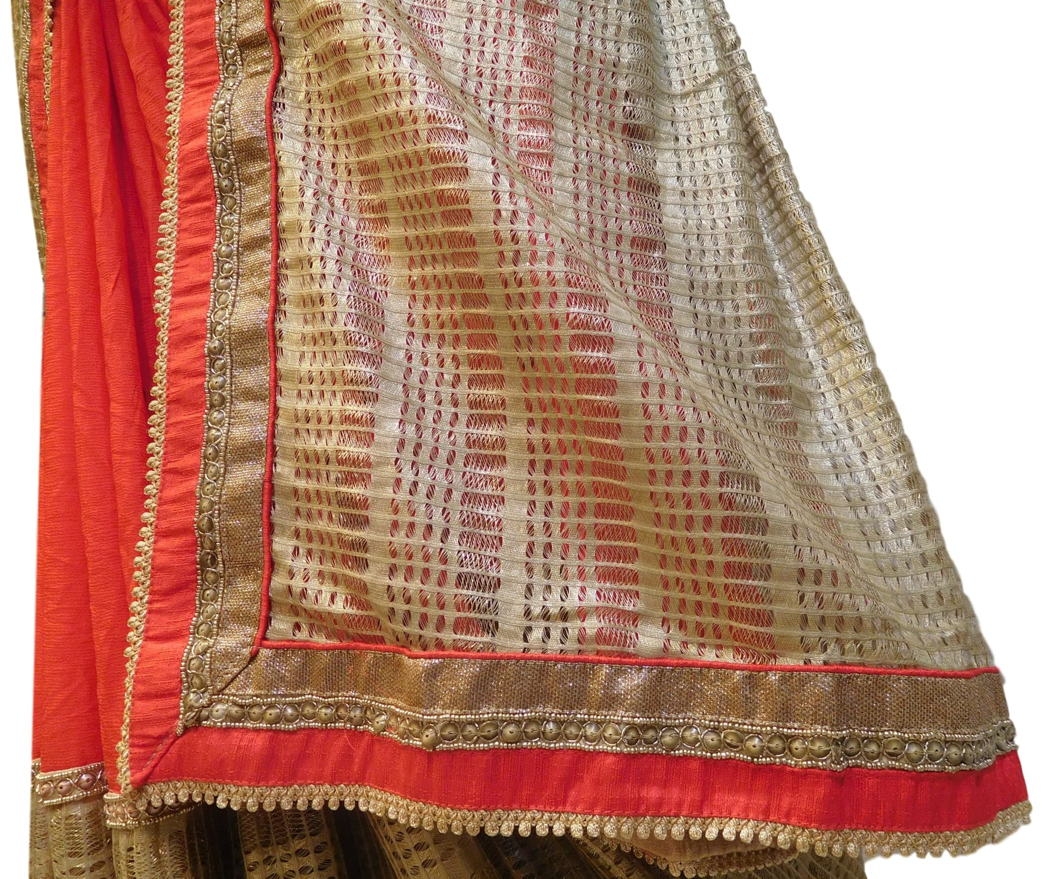 Red & Golden Boutique Style Georgette (Viscos) Hand Embroidery Bullion Sequence Thread Beads Work Saree Sari With Designer Stitched Blouse