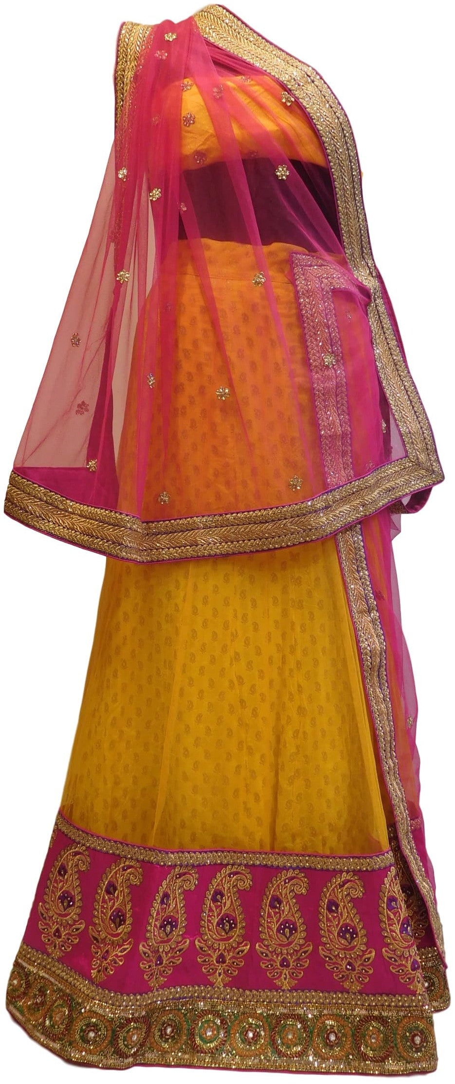 Pink & yellow Designer Bridal Hand Embroidery Work Lahenga With Net Dupatta & Silk Blouse