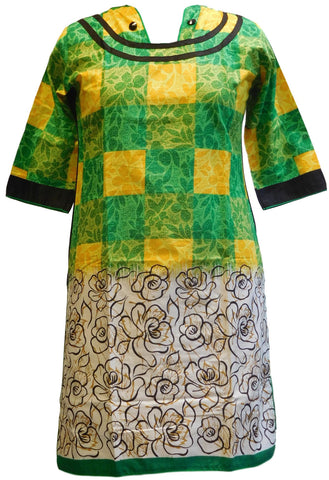 Yellow, Green, Black & White Designer Cotton (Chanderi) Printed Kurti