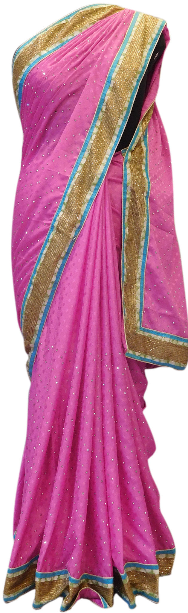 Pink Golden Border Saree