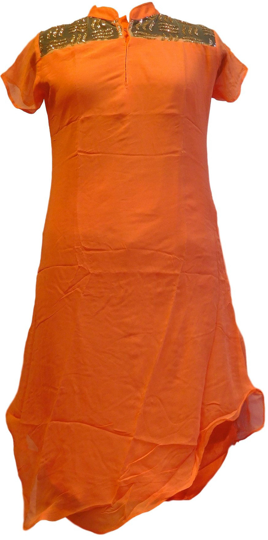 Orange Designer Georgette & Glitter Kurti