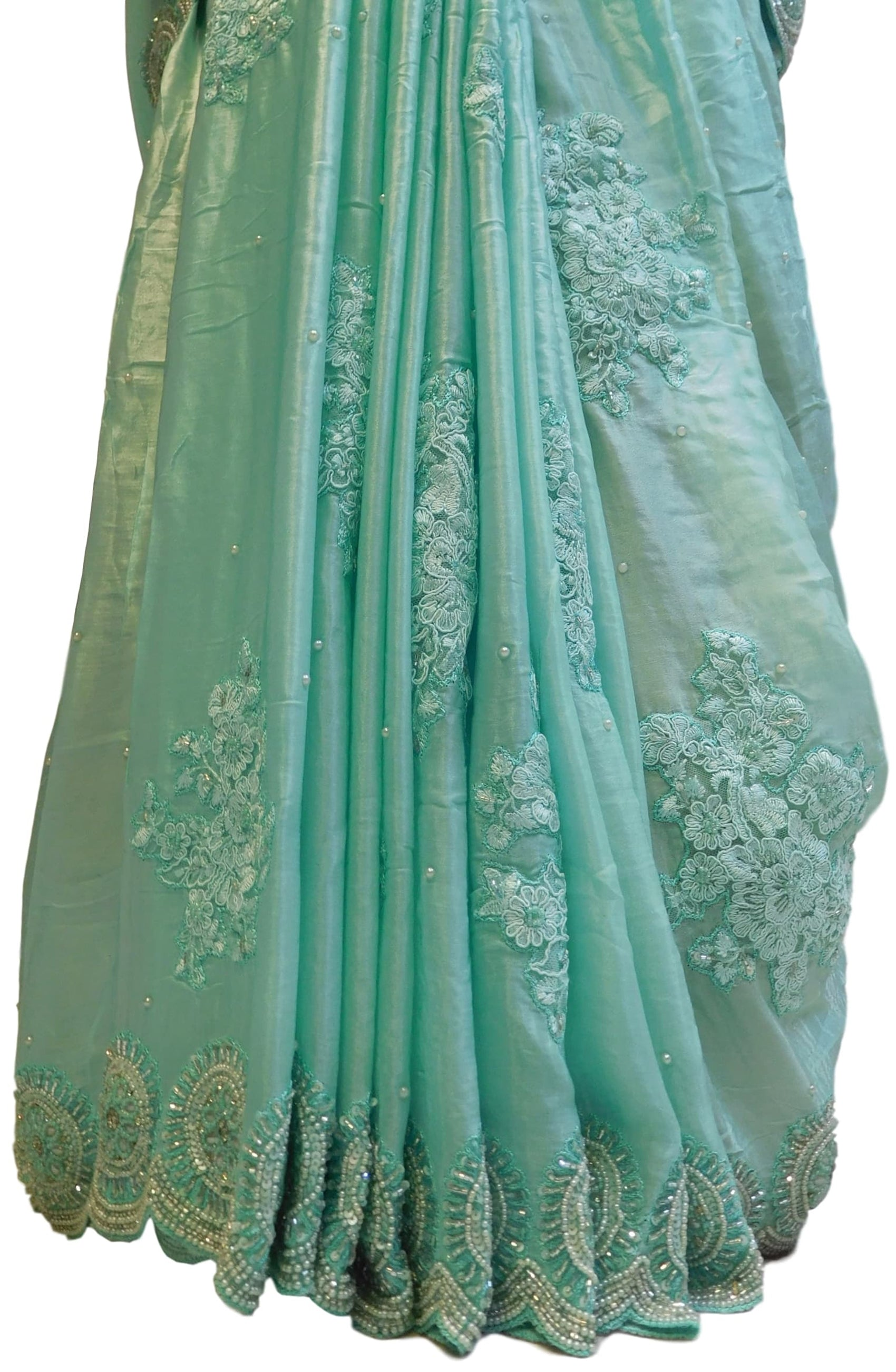Turquoise Designer Pure Satin Silk Hand Embroidery Pearl Cutdana Thread Stone Sequence Work Saree Sari
