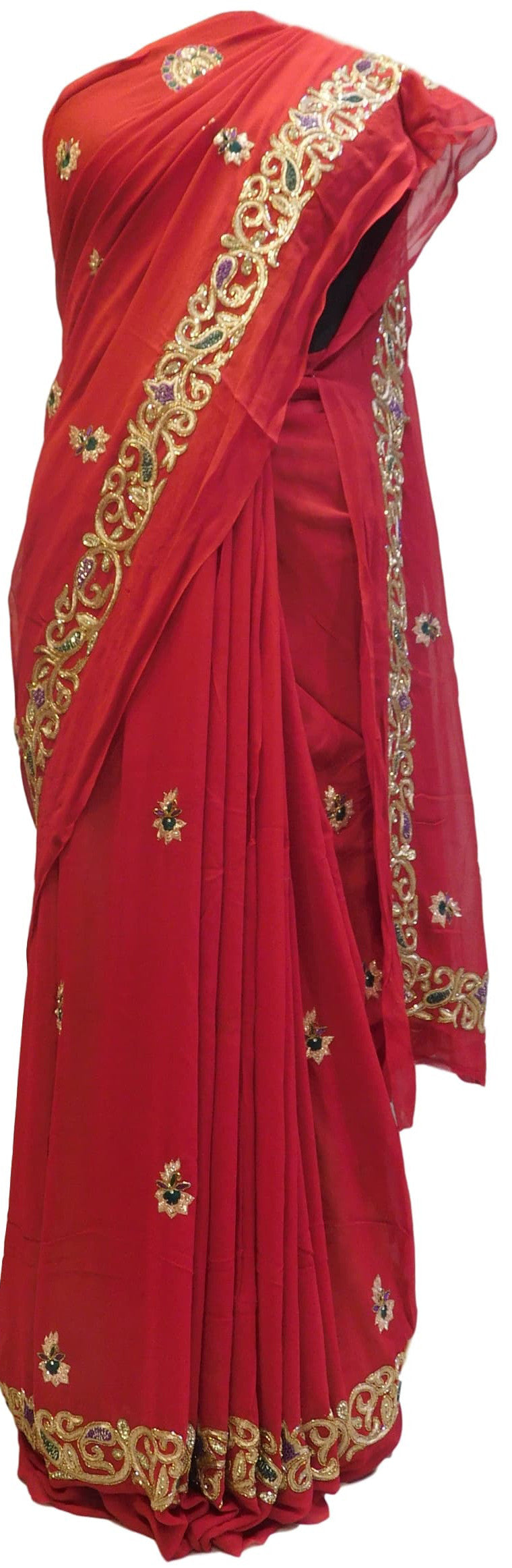 Red Designer Georgette (Viscos) Hand Embroidery Work Saree Sari